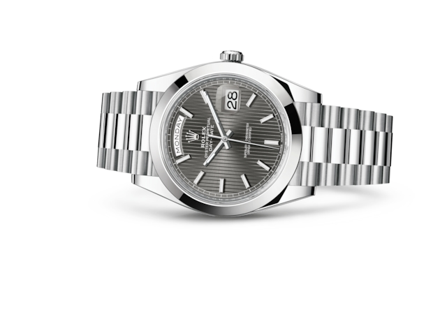 Day-Date 40 - Dark rhodium, stripe motif, platinum