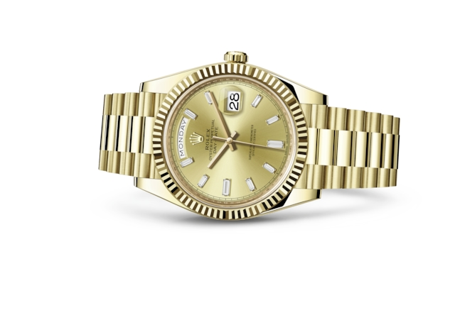 Day-Date 40 - Color champagne con diamanti, oro giallo