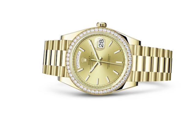 Day-Date 40 - Color champagne, oro giallo e diamanti