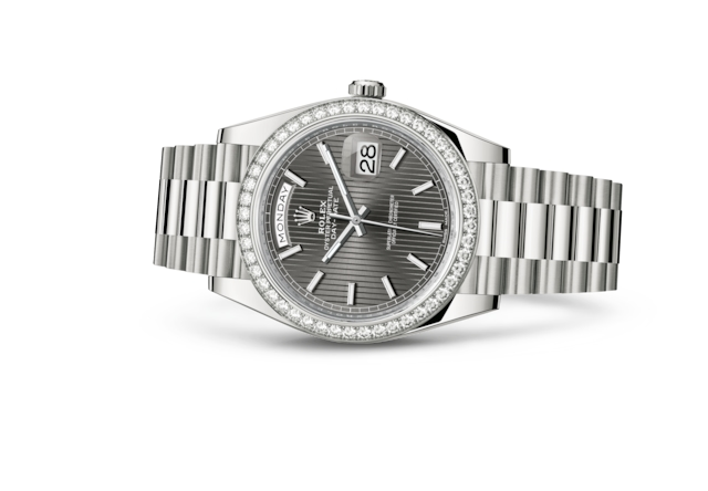 Day-Date 40 - Dark rhodium, stripe motif, white gold and diamonds