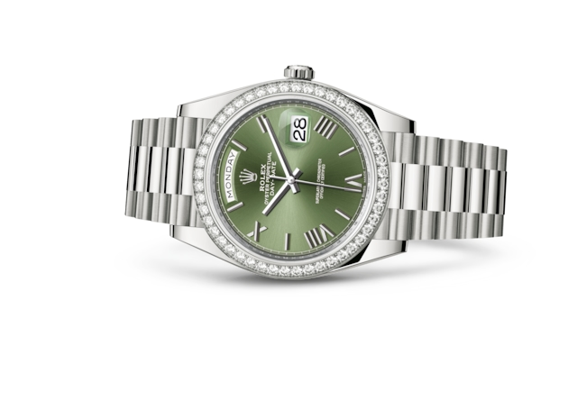Day-Date 40 - Vert olive, or gris et diamants
