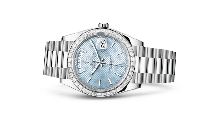Day-Date 40 - Ice blue, diagonal motif, platinum and diamonds