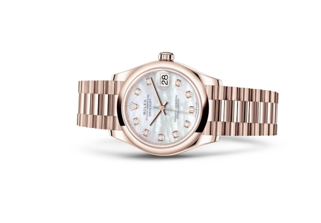 Datejust 31 - Madreperla bianca con diamanti, oro Everose
