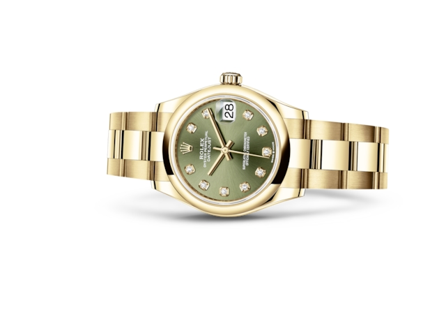 Datejust 31 - Olijfgroen met diamanten, geelgoud