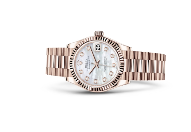 Datejust 31 - Wit parelmoer bezet met diamanten, Everose-goud