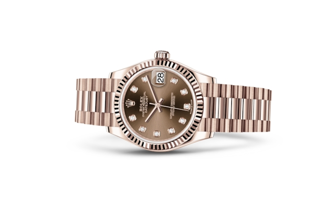 Datejust 31 - Chocolate set with diamonds, Everose gold