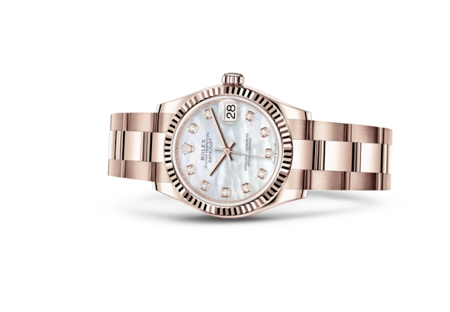 Datejust 31 - White mother-of-pearl set with diamonds, Everose gold