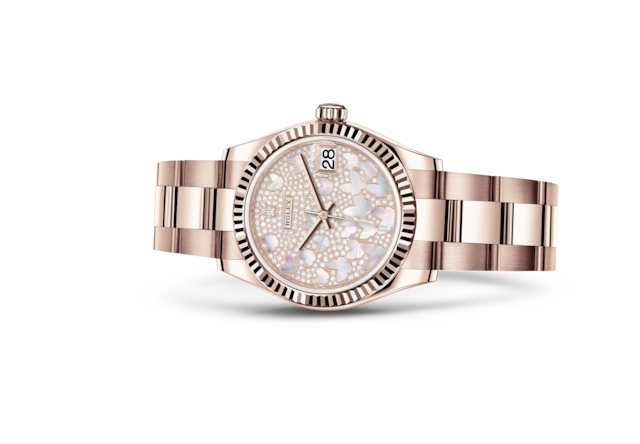 Datejust 31 - Paved, mother-of-pearl butterfly, Everose gold