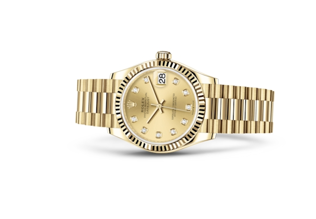 Datejust 31 - Champagnerfarbenes Diamantzifferblatt, Gelbgold