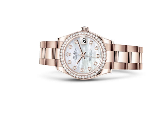 Datejust 31 - Madrepérola branca cravejado de diamantes, ouro Everose e diamantes