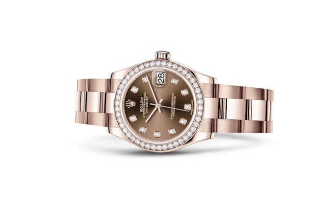Datejust 31 - Chocolate set with diamonds, Everose gold and diamonds