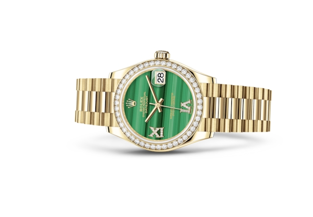 Datejust 31 - Malachiet bezet met diamanten, geelgoud en diamanten