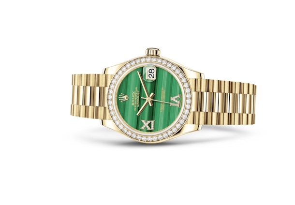 Datejust 31 - Malachite set with diamonds, yellow gold and diamonds