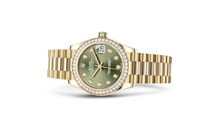 Datejust 31 - Olijfgroen met diamanten, geelgoud en diamanten