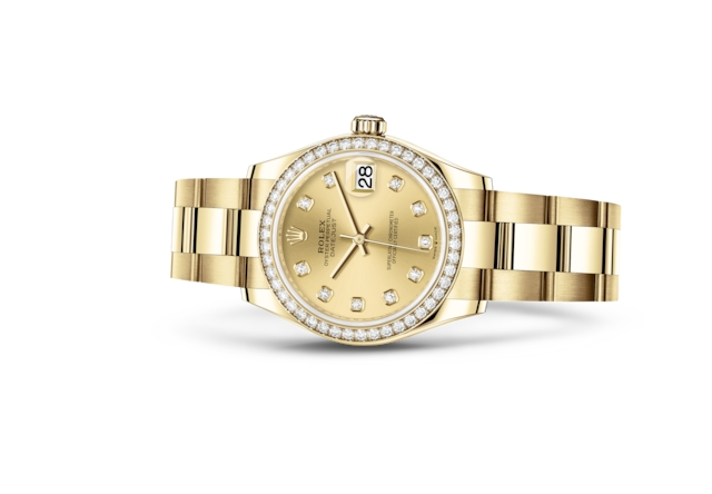 Datejust 31 - Color champagne engastada de diamantes, oro amarillo y diamantes