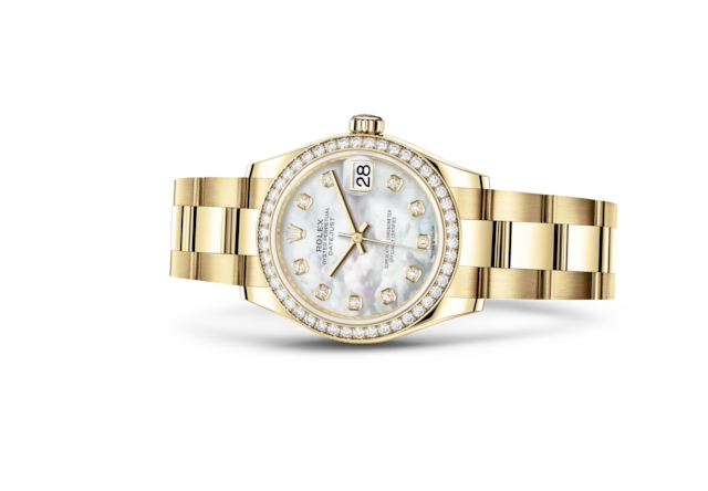 Datejust 31 - Madreperla bianca con diamanti, oro giallo e diamanti