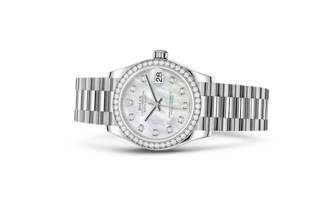 Datejust 31 - Nácar blanco engastada de diamantes, oro blanco y diamantes