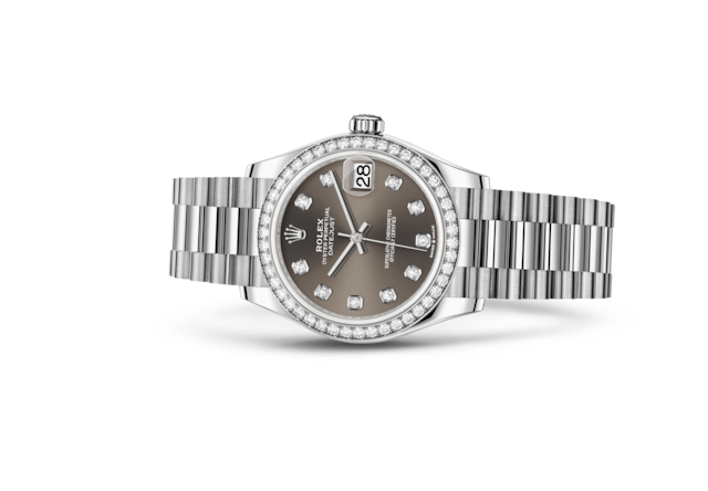 Datejust 31 - Dark grey set with diamonds, white gold and diamonds
