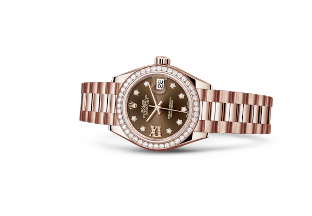 Lady-Datejust 28 - Chocolate engastada de diamantes, oro Everose y diamantes