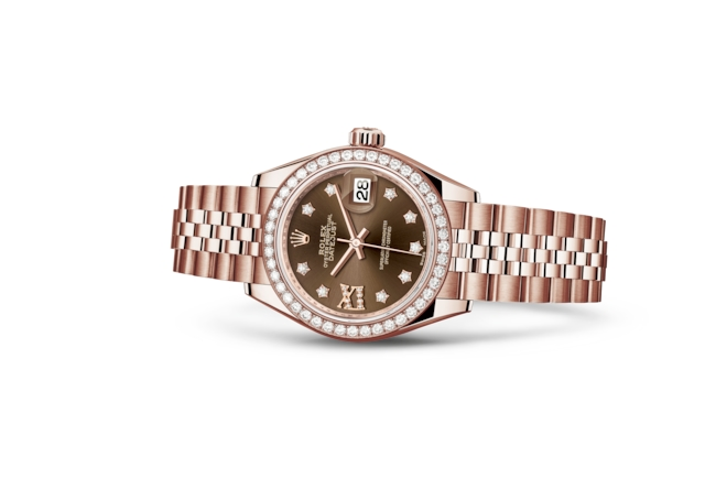 Lady-Datejust 28 - Chocolate cravejado de diamantes, ouro Everose e diamantes