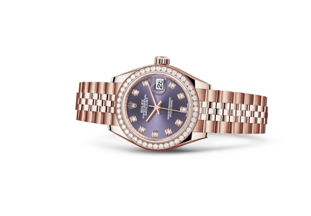 Lady-Datejust 28 - Aubergine engastada con diamantes, oro Everose y diamantes
