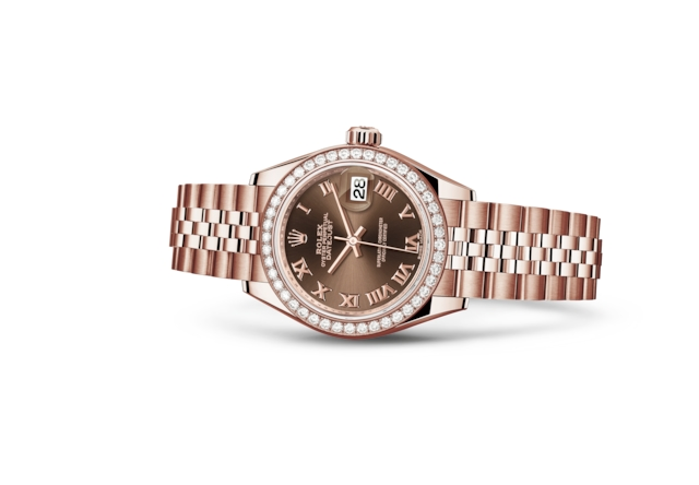 Lady-Datejust 28 - Chocolate, ouro Everose e diamantes