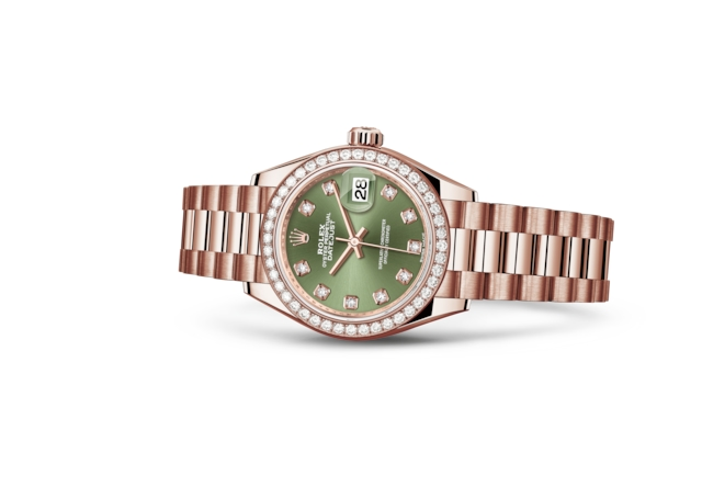 Lady-Datejust 28 - Olive green set with diamonds, Everose gold and diamonds