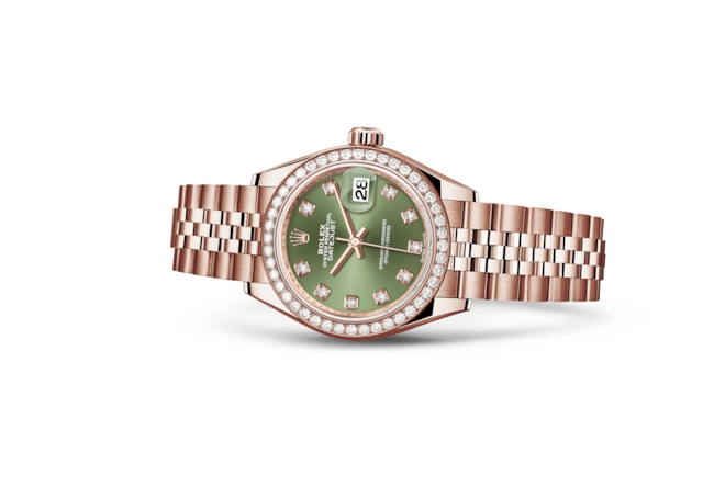 Lady-Datejust 28 - Verde oliva con diamanti, oro Everose e diamanti