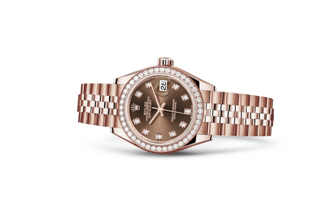 Lady-Datejust 28 - Chocolat, serti de diamants, or Everose et diamants