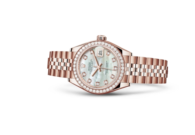 Lady-Datejust 28 - Madreperla bianca con diamanti, oro Everose e diamanti