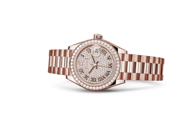Lady-Datejust 28 - Diamantpavézifferblatt, Everose-Gold mit Diamanten