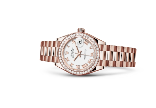 Lady-Datejust 28 - Branco, ouro Everose e diamantes