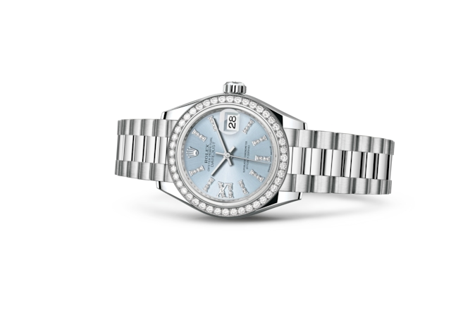 Lady-Datejust 28 - Azul glaciar engastada con diamantes, platino y diamantes