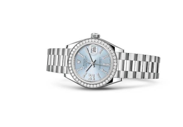 Lady-Datejust 28 - Ice blue set with diamonds, platinum and diamonds