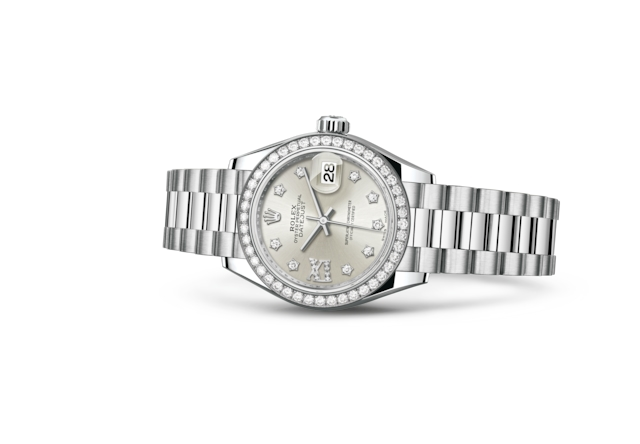 Lady-Datejust 28 - Plateada engastada con diamantes, platino y diamantes