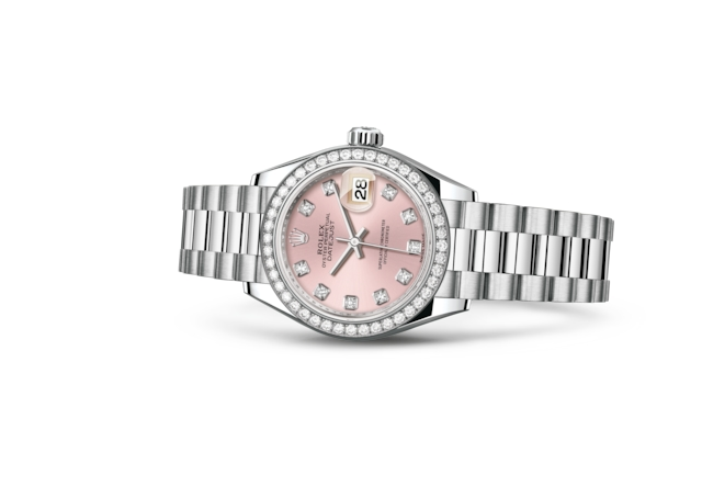 Lady-Datejust 28 - Rosa con diamanti, platino e diamanti