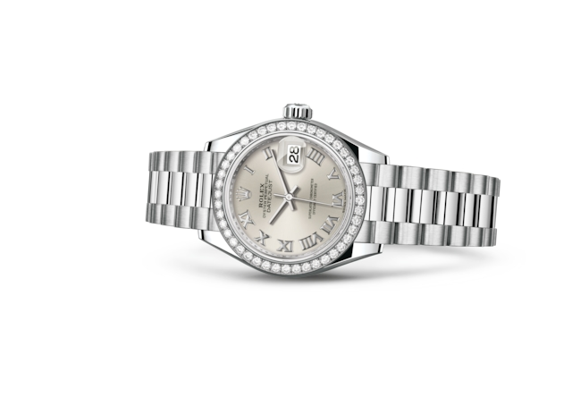 Lady-Datejust 28 - Prateado, platina e diamantes