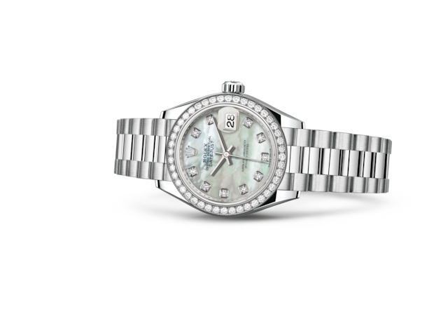 Lady-Datejust 28 - Nacre blanche, serti de diamants, platine et diamants