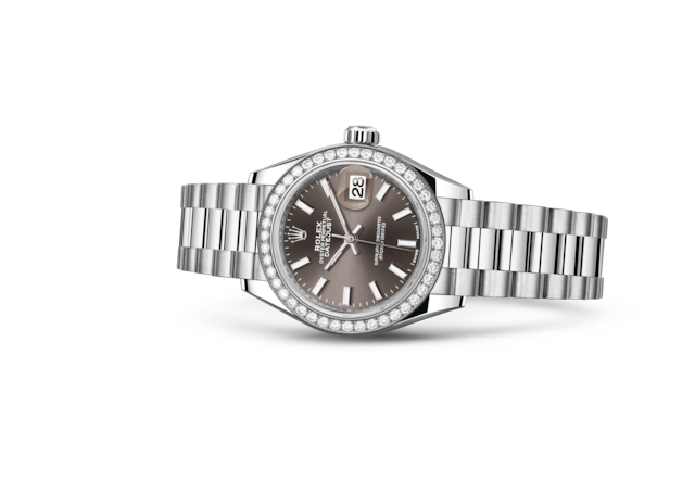 Lady-Datejust 28 - Dark grey, platino e diamanti
