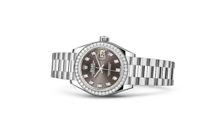 Lady-Datejust 28 - Dark grey con diamanti, platino e diamanti