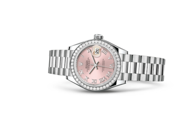 Lady-Datejust 28 - Pembe, platin ve pırlanta