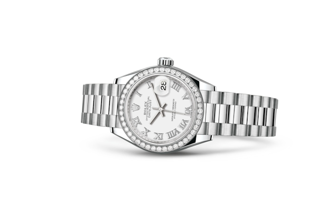 Lady-Datejust 28 - Wit, platina en diamanten