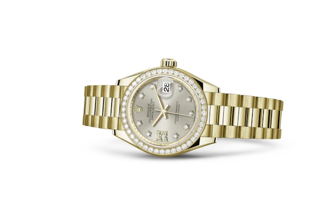 Lady-Datejust 28 - Plateada engastada con diamantes, oro amarillo y diamantes