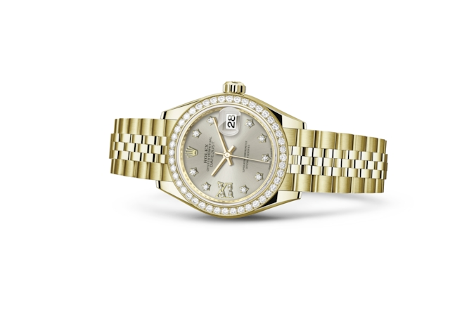 Lady-Datejust 28 - Argenté, serti de diamants, or jaune et diamants