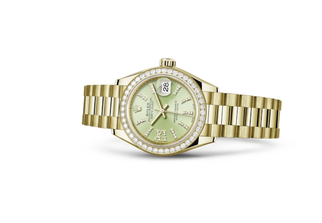 Lady-Datejust 28 - Verde tiglio con diamanti, oro giallo e diamanti