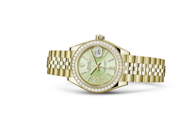 Lady-Datejust 28 - Linden cravejado de diamantes, ouro amarelo e diamantes
