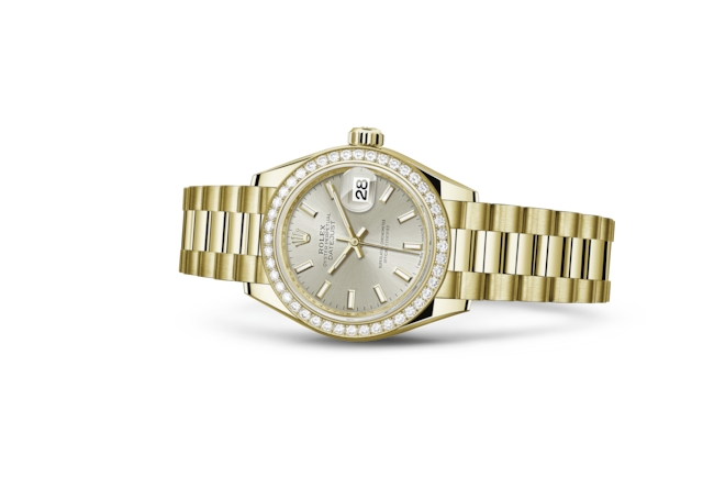 Lady-Datejust 28 - Argentato, oro giallo e diamanti
