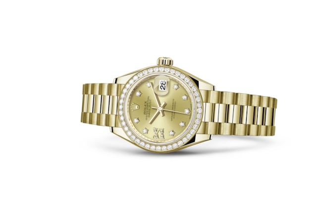 Lady-Datejust 28 - Champagnekleurig met diamanten, geelgoud en diamanten