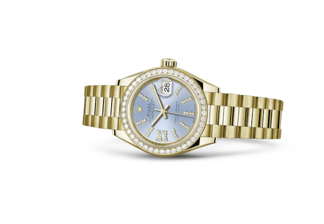 Lady-Datejust 28 - Korenbloemblauw met diamanten, geelgoud en diamanten