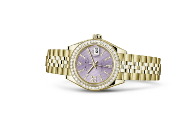 Lady-Datejust 28 - Fliederfarbenes Diamantzifferblatt, Gelbgold mit Diamanten